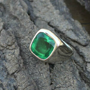 925-Sterling-Silver-Natural-Certified-6Ct-Emerald-Stone-Cluster-Ring-For-Unisex