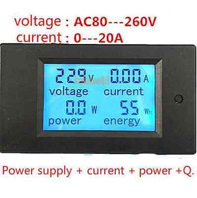 20A AC Digital LED Power Panel Meter Watt Power Meter Ammeter Voltmeter Combo