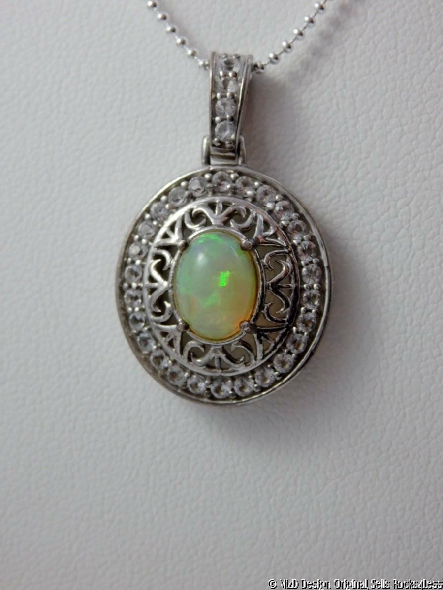 Ethiopian Opal Sterling Filigree White Topaz Halo Pendant 18