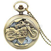 Antique Style Vintage Bronze Tone Biker Motocycle Quartz Pocket Watch Necklace