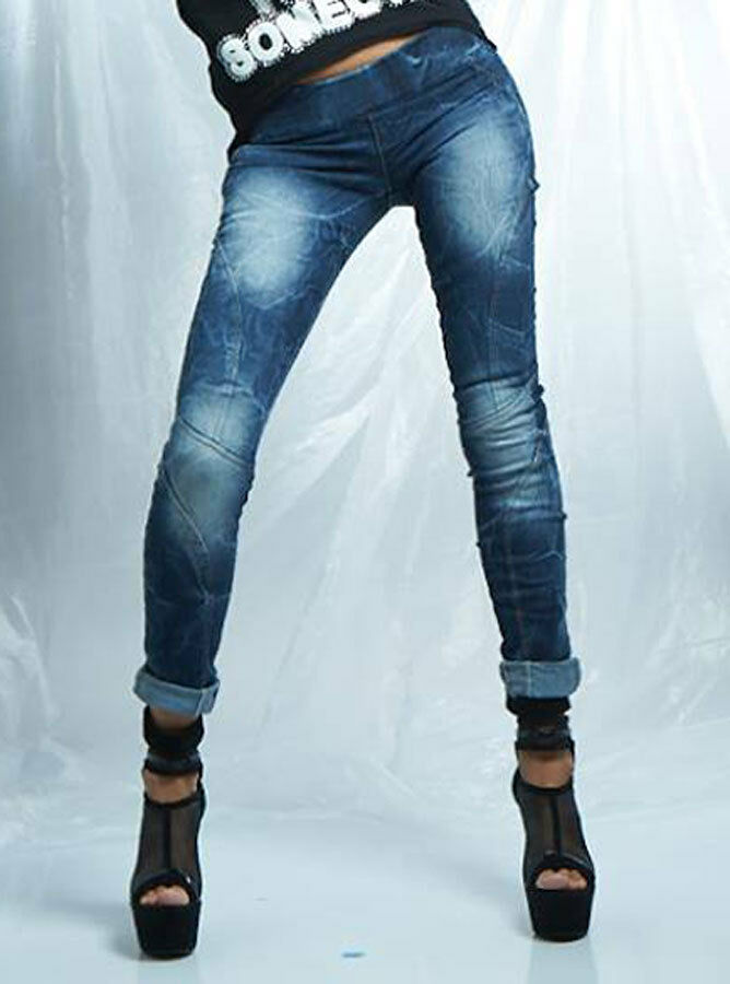 By ALINA Jeans Da Donna Jeans a Sigaretta Jeans Jeggings STRECH hüftjeans BLU 32 -36