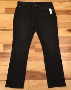 Gap-Men-s-33-X-32-Black-Wash-Skinny-Stretch-Jeans-Black-Denim-Pants-Nwt