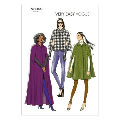 Vogue Sewing Pattern V8959 mujeres Cape Abrigo