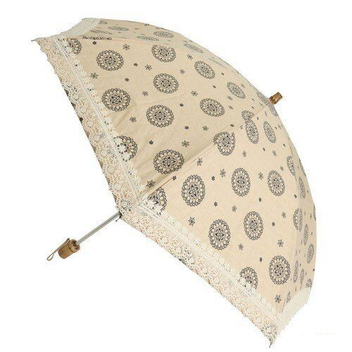 Umbrella Shibata Rain Or Shine Ladys Made In Japan Folding Farbeed Cotton Navy