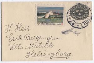 Cover-H43-Sweden-1913-used-Helsinborg-bird