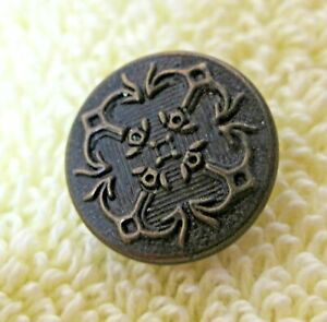 Vintage-Dark-Gold-Bronze-Tone-Button-Raised-Edwardian-Style-1-2-034-Great-Shape