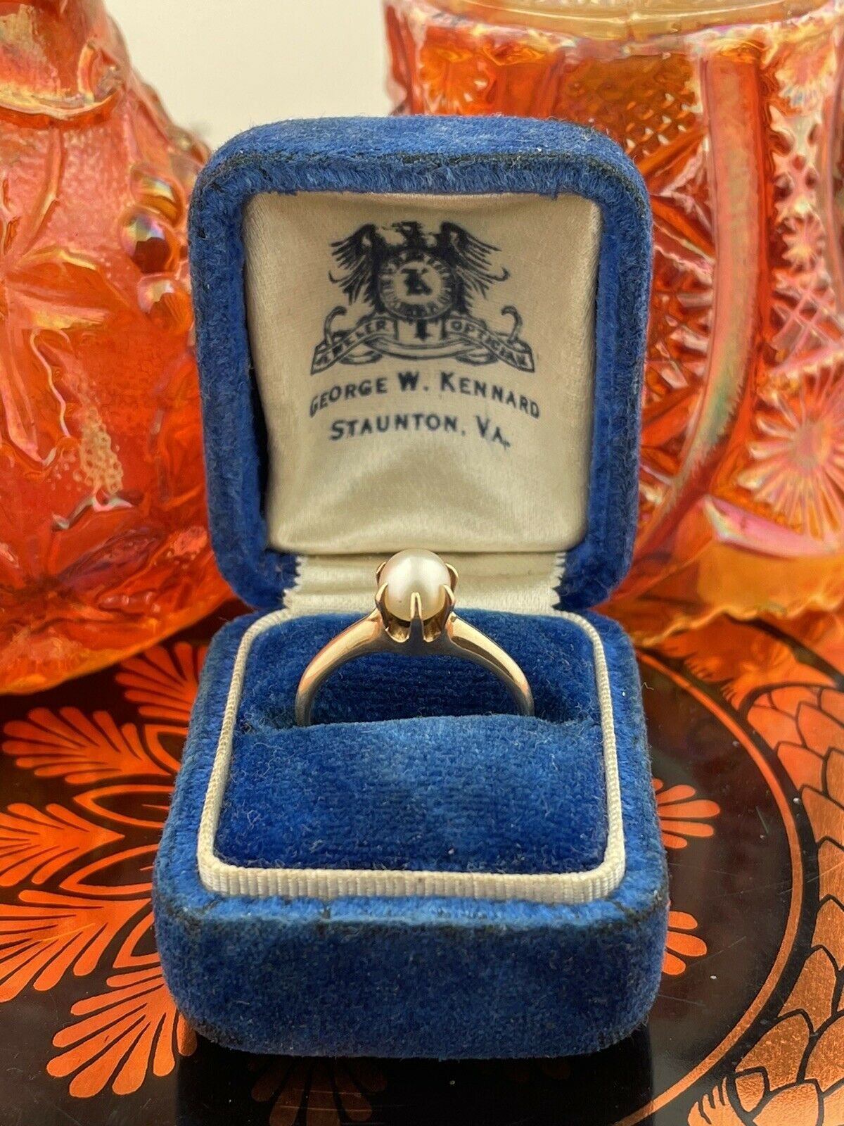 14k Solid Yellow Gold Solitaire Genuine Pearl ring - image 8