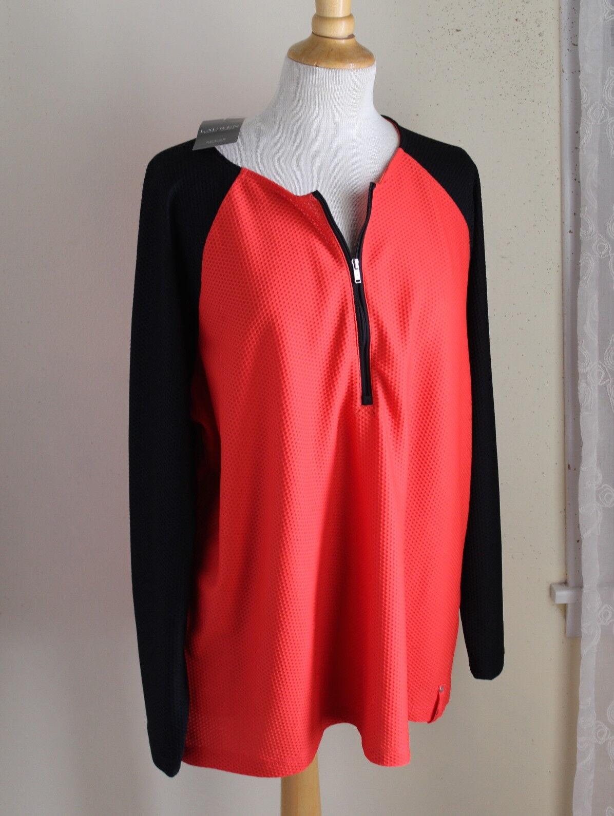 NWT Ralph Lauren Orange schwarz Texturot 1 2 Zip Active Yoga Shirt Top Sz 2X