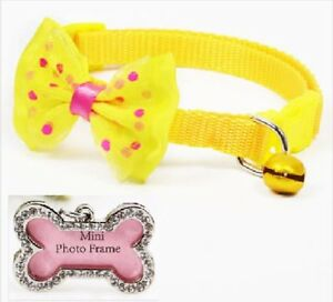 Cute-pet-collar-with-bow-Yellow-Bone-Frame-Charm-Tag-small-dog-puppy-set