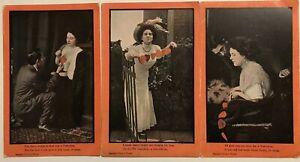 Lot-of-3-Romantic-Postcards-Men-Women-Hearts-Vintage-Romance-Unused-p385