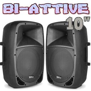 COPPIA-CASSE-AMPLIFICATE-ATTIVE-800W-WOOFER-26-CM-10-034-IN-ABS-KARAOKE-PIANOBAR-DJ