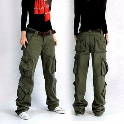 Women//Lady Cargo Trousers Pants Hip Hop Work Military Army Casual Pocket Outdoor