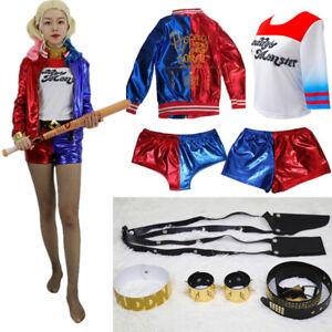 Suicide-Squad-Harley-Quinn-Cosplay-Costume-Coat-Jacket-Top-T-shirt-Shorts-Belt