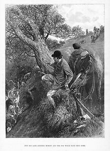 FOX-HOUNDS-CATCH-THE-FOX-HUNTER-HORSE-WHIP-SADDLE-REINS-DOGS-FOX-HUNT-ENGRAVING
