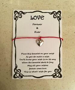 Détails Sur Wish Bracelet Amour Petite Amie Femme Forever Carte Cadeau Poème Diverses Couleurs Charme Afficher Le Titre Dorigine