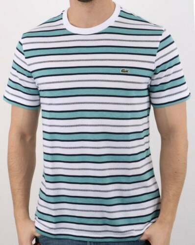 White Navy /& Turquoise BNWT Lacoste Striped T-Shirt