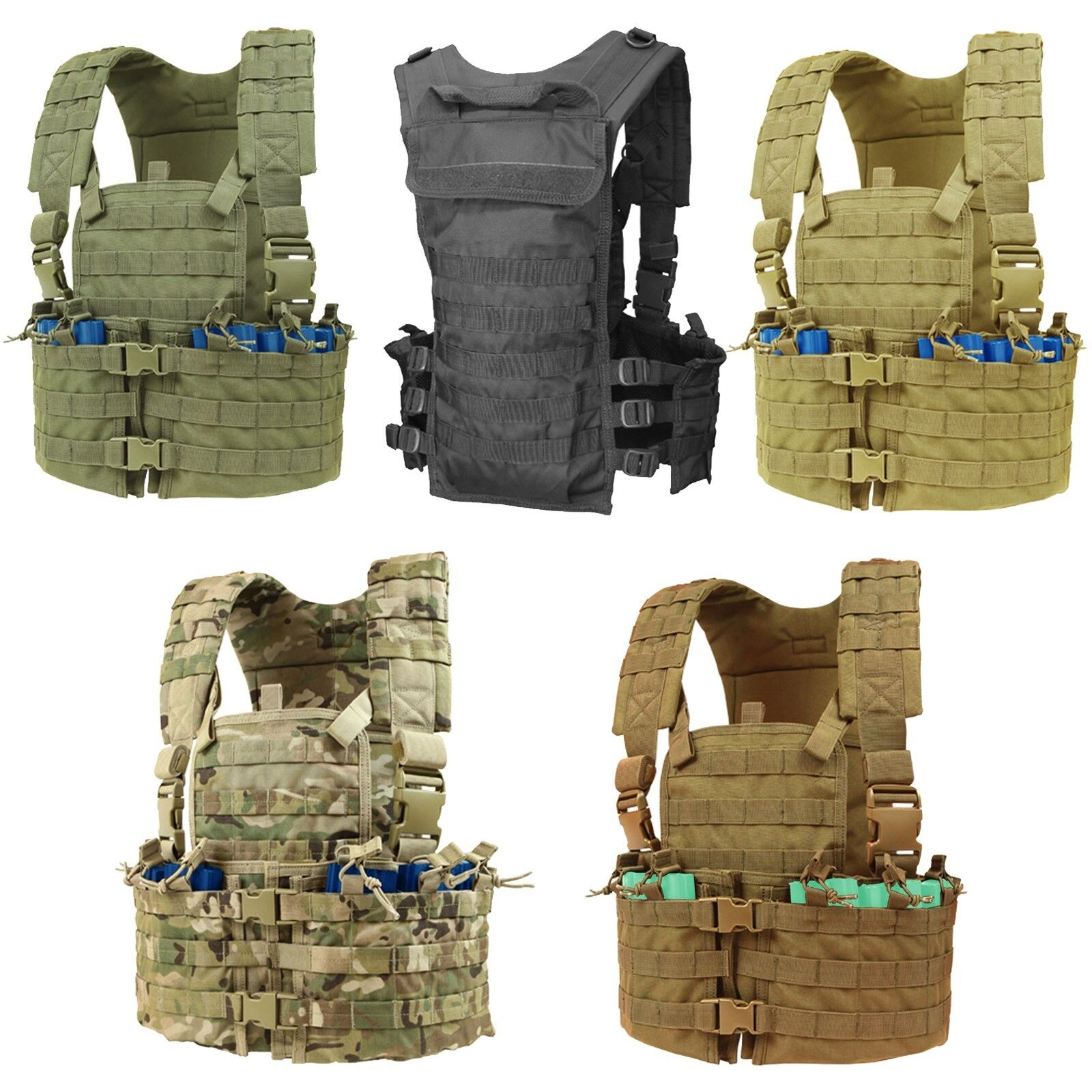 Condor CS Tactical Hydration Chest Rig 5.56 Magazine Modular MOLLE PALS Vest Set