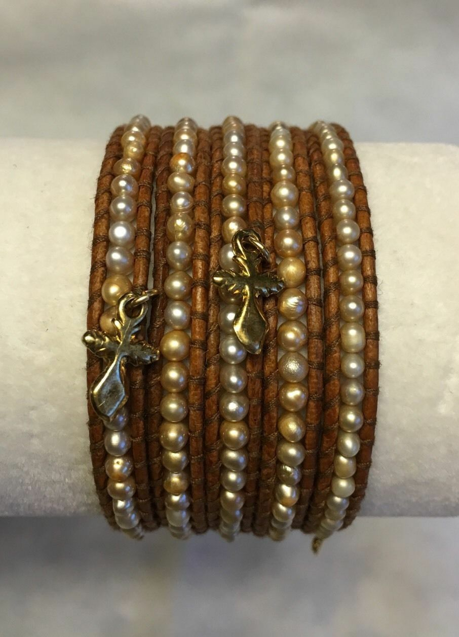 New Auth Chan Luu Champagne Pearl Cross Charm Wrap Bracelet on Brown Leather