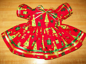 PRESENTS-TREES-CHRISTMAS-RED-DRESS-W-RIBBONS-for-15-17-034-CPK-Cabbage-Patch-Kids