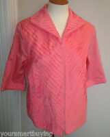 $128 Samuel Dong Coral Zipped Pleated Summer Cotton Blouse Top M Medium