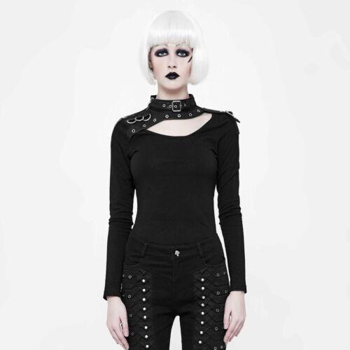Longsleeve Top Lederkragen Punk Leatherneck Shirt Langarm Rave Damen Gothic xZwRAFR8nq
