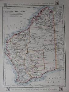 Map Of Australia Showing Perth.Details About 1912 Map Western Australia Showing Goldfields Perth