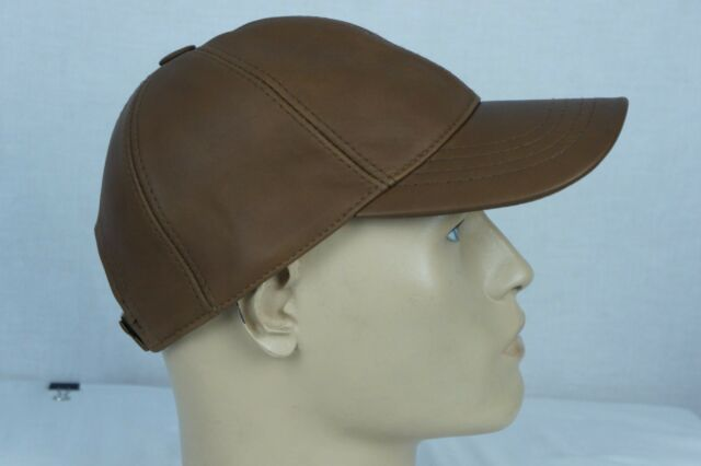 ESPRESSO 100% GENUINE LAMBSKIN LEATHER Baseball Cap Hat Biker Visor Adjustable