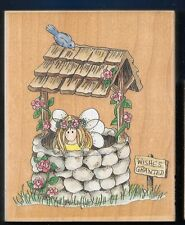 FAIRY Pixie WISHING WELL #80104 Lilly Pilly large STAMPS HAPPEN RUBBER STAMP