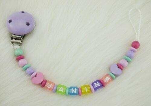 Cadena de chupete con nombre de deseos nombre Baby idea de regalo zorro gris turquesa
