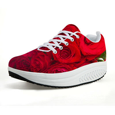 Women Breathable Wedges Platform Sneakers Lightweight Athletic Fitness Sport Rocking Walking Shoes