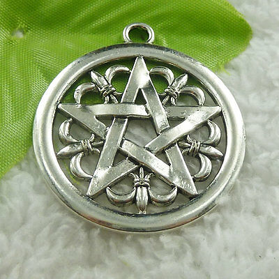 47x41mm Free Ship 14 pcs tibet silver round star charms pendant B4700