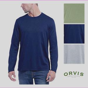 Orvis-Men-039-s-Cascade-Long-Sleeve-Crew-Neck-Shirt-Gray-Navy-NWT