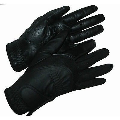 Ladies Black Leather Palm Competition Gloves Horse Riding