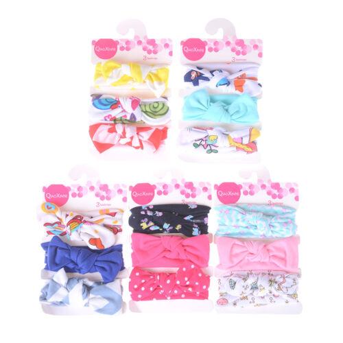 3Pcs//Set Kids Baby Girls Cotton Bowknots Headbands Children Hair Band+q