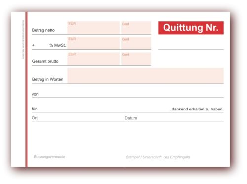 5 x Formularbuch Quittungsblock DIN A6 50 Blatt rot Quittungsblöcke Quittung