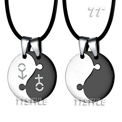 TTstyle Stainless Steel YING&YANG Pendant For Couple Two Free Chains Choosestyle