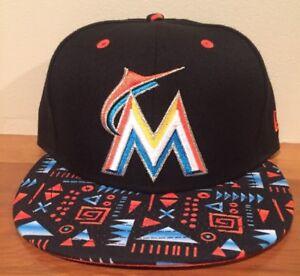 Miami Marlins New Era 59FIFTY Geo Hat Cap MLB Sz 7 1 8 Fitted ... 0339ac1f6c0b