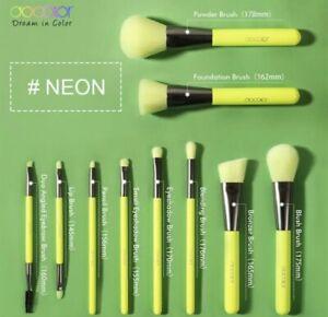 Docolor-Makeup-Brushes-10-Piece-Neon-Green-Brush-Set