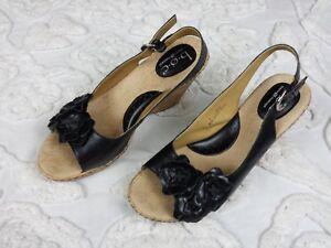 3cef1ef4f5 BOC Born Concept Womens Wedge Sandals Cork Shoes Sz 9 Black Flower ...