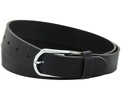 Büffel Ledergürtel 3,5 Cm Herren Damen Belt Echt Voll Leder Gürtel Schwarz Nr.21