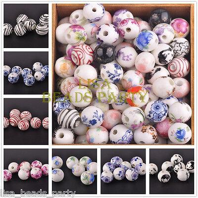 Wholesale 10pcs 12mm Ball Flowers Pattern Ceramic Porcelain Loose Big Beads Lots