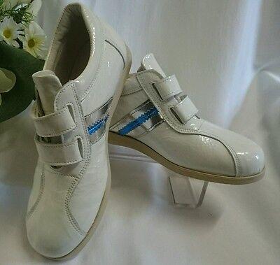 Mädchen Schuhe Sneakers MADE IN ITALY Gr. 35 Leder Weiß Glanz Klett