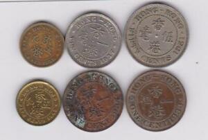 6-x-1-cent-50-cents-Hongkong-1933-1951-Georg-Grossbritannien-Great-Britain