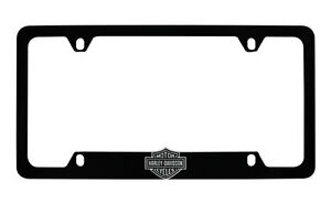 Harley-Davidso<wbr/>n Flat Matte Black License Plate Frame Holder With 3D Bar & Shield