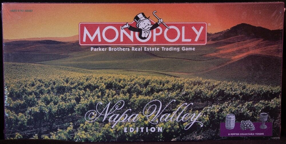 Monopoly NAPA VALLEY EDITION Board Game with Special Wine Tokens  FACTORY SEALED