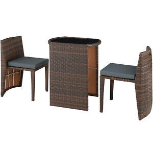 Détails sur Salon de Jardin Résine Tressée 2 Personnes Mobilier encastrable  Chaises Table