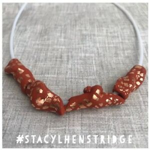 Handmade Polymer Clay Necklace Terracotta Copper Leaf White Stacylhenstridge