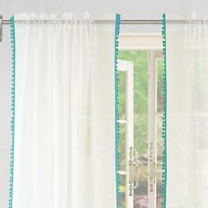 DriftAway-Laura-Pom-Pom-Trimmed-White-Voile-Sheer-Window-Curtains-Set-of-2-Panel