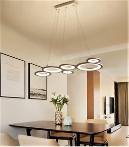 Details about Modern LED Circles Dining Room Living Room Cord Pendant  Hanging Light Fixture