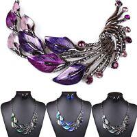 Women Peacock Enamel Choker Bib Elegant Necklace + Stud Earrings Set Jewelry